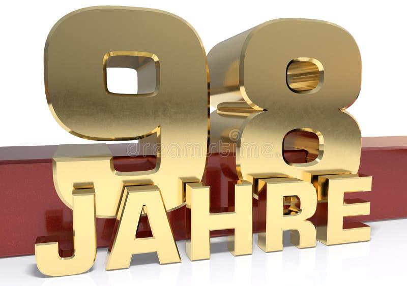 Χρυσό ψηφίο ενενήντα οκτώ και η λέξη του έτους Μεταφρασμένο φ ελεύθερη απεικόνιση δικαιώματος