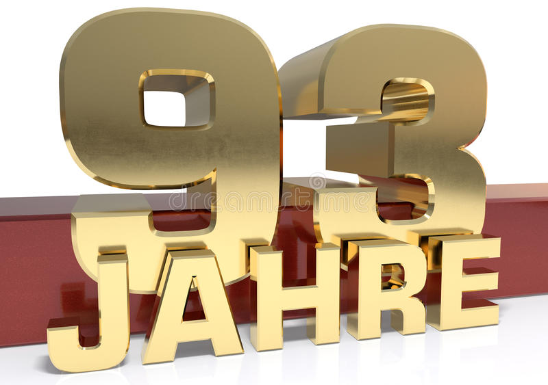 Χρυσό ψηφίο ενενήντα τρία και η λέξη του έτους Μεταφρασμένο φ διανυσματική απεικόνιση