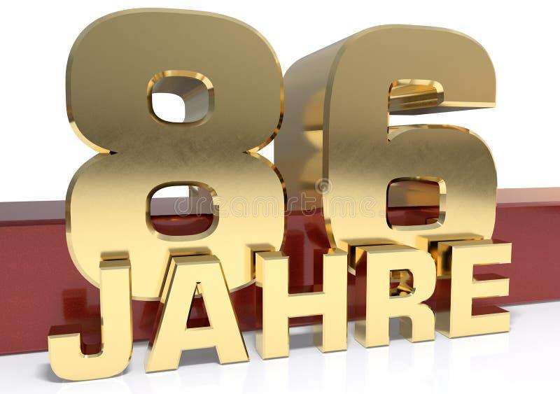 Χρυσό ψηφίο ογδόντα έξι και η λέξη του έτους Μεταφρασμένος για απεικόνιση αποθεμάτων