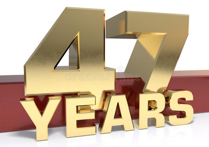 Χρυσό ψηφίο σαράντα επτά και η λέξη του έτους τρισδιάστατο illustrati ελεύθερη απεικόνιση δικαιώματος