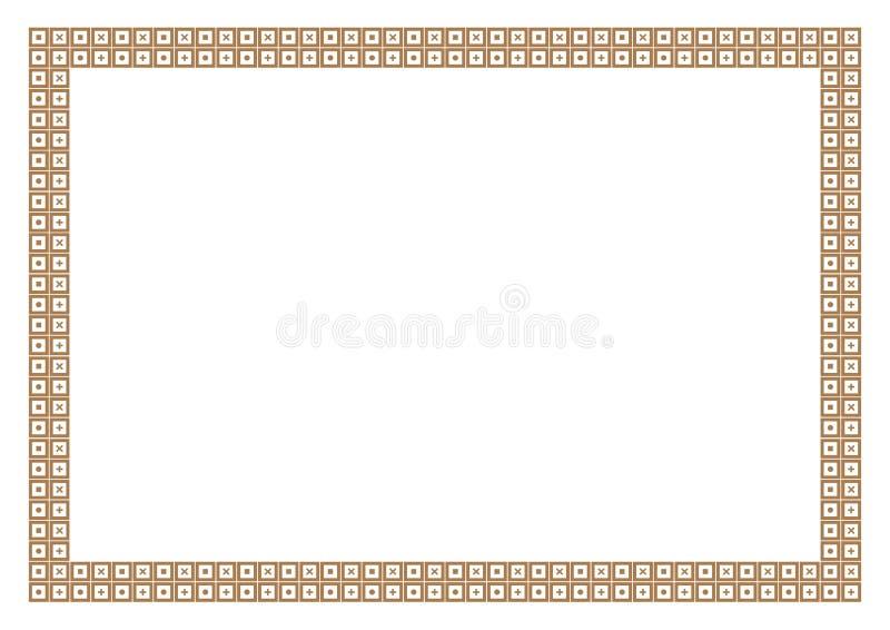 Χρυσό ύφος Math πλαισίων & συνόρων με το τετραγωνικό σχέδιο διανυσματική απεικόνιση