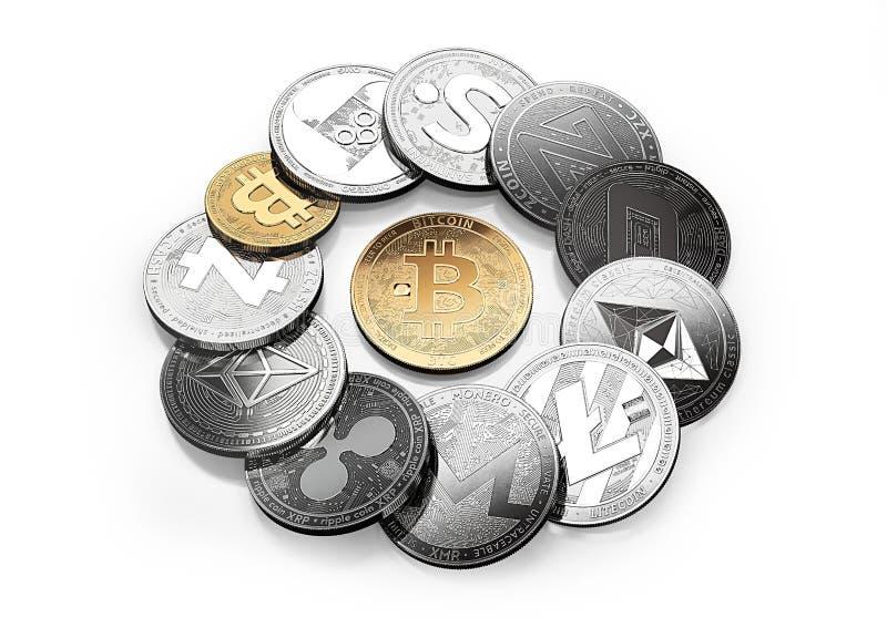 Χρυσό bitcoin και διαφορετικά cryptos γύρω από απομονωμένος στο λευκό διανυσματική απεικόνιση