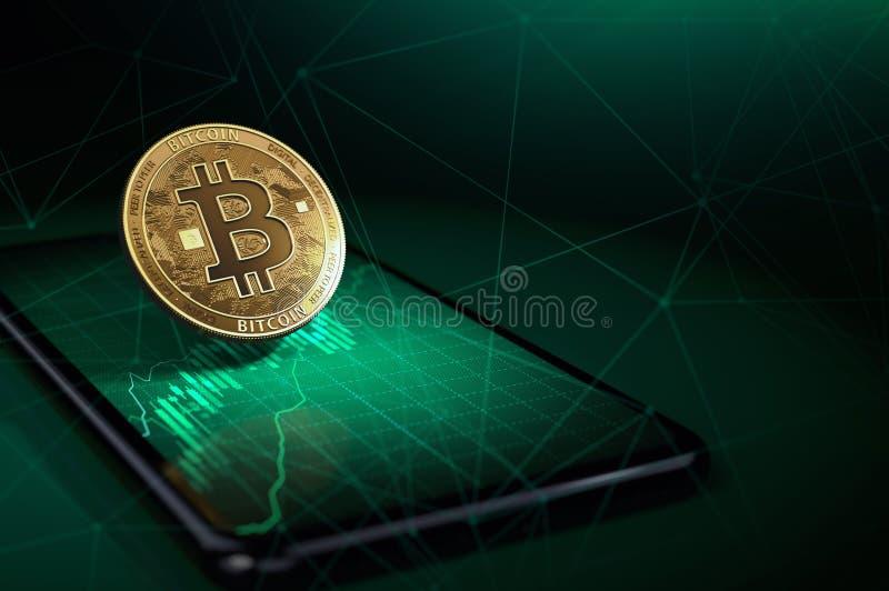 Χρυσό bitcoin πέρα από ένα smartphone με το πράσινο διάγραμμα αύξησης σε το Η τιμή Bitcoin αυξάνεται έννοια τρισδιάστατη απόδοση ελεύθερη απεικόνιση δικαιώματος