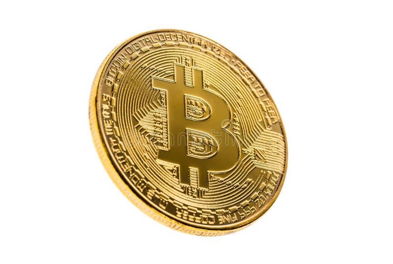 Χρυσό bitcoin που απομονώνεται σε ένα άσπρο υπόβαθρο Εκλεκτική εστίαση Έννοια Cryptocurrency στοκ φωτογραφίες