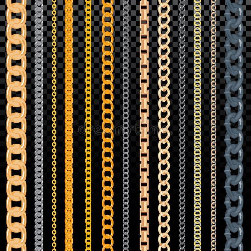 Χρυσό chainlet σχεδίων αλυσίδων διανυσματικό στη γραμμή ή τη μεταλλική σύνδεση του συνόλου απεικόνισης κοσμήματος αλυσόδεσης της  διανυσματική απεικόνιση