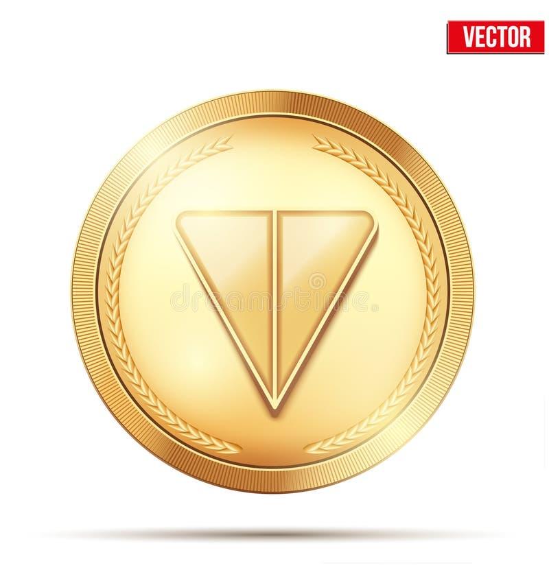 Χρυσό crypto νόμισμα με το σημάδι ΤΟΝΟΥ ελεύθερη απεικόνιση δικαιώματος