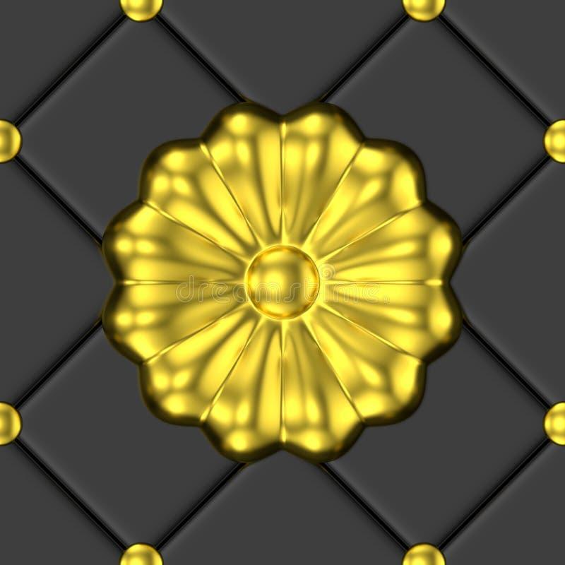 Χρυσό floral άνευ ραφής σχέδιο διακοσμήσεων διανυσματική απεικόνιση