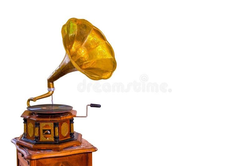 χρυσό gramophone απομόνωσε το λευκό στοκ εικόνες