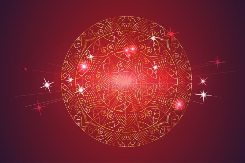 Χρυσό Mandala, διακοσμητική στρογγυλή διακόσμηση σε ένα κόκκινο υπόβαθρο διανυσματική απεικόνιση