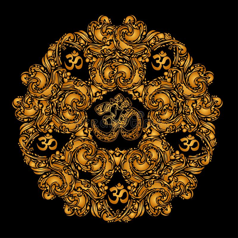 Χρυσό mandala του OM ελεύθερη απεικόνιση δικαιώματος