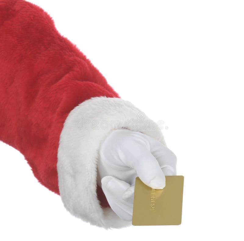χρυσό santa παράδοσης καρτών στοκ εικόνες