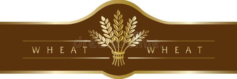 Χρυσό sheaf σίτου στην καφετιά κορδέλλα εμβλημάτων διανυσματική απεικόνιση