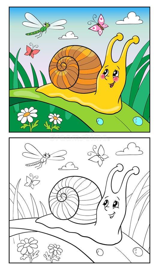 Χρωματίζοντας απεικόνιση κινούμενων σχεδίων σελίδων του αστείου σαλιγκαριού για τα παιδιά διανυσματική απεικόνιση