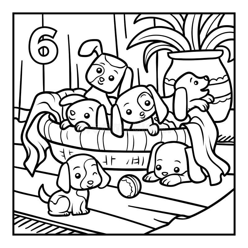Χρωματίζοντας βιβλίο, έξι σκυλιά απεικόνιση αποθεμάτων