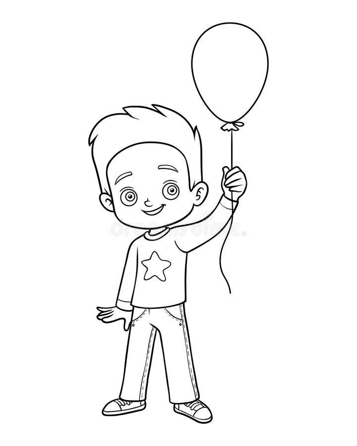 Χρωματίζοντας βιβλίο, αγόρι και μπαλόνι διανυσματική απεικόνιση