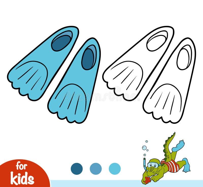 Χρωματίζοντας βιβλίο, βατραχοπέδιλα ελεύθερη απεικόνιση δικαιώματος