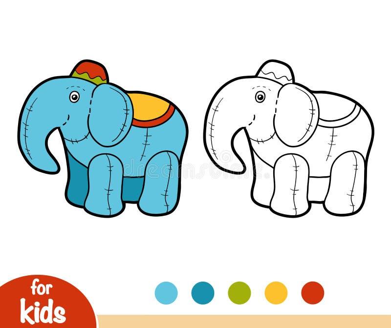 Χρωματίζοντας βιβλίο, γεμισμένος ελέφαντας παιχνιδιών απεικόνιση αποθεμάτων