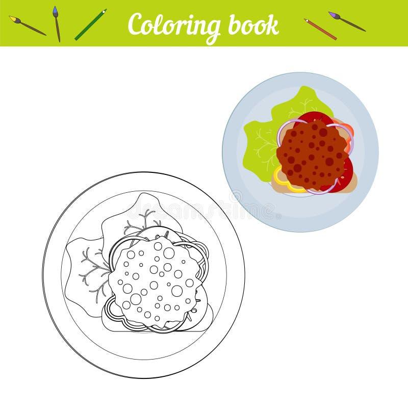 Χρωματίζοντας βιβλίο Η έννοια του μεσημεριανού γεύματος, γεύμα Σάντουιτς με τα πράσινα, λαχανικά, cutlet Τρόφιμα σε ένα στρογγυλό απεικόνιση αποθεμάτων