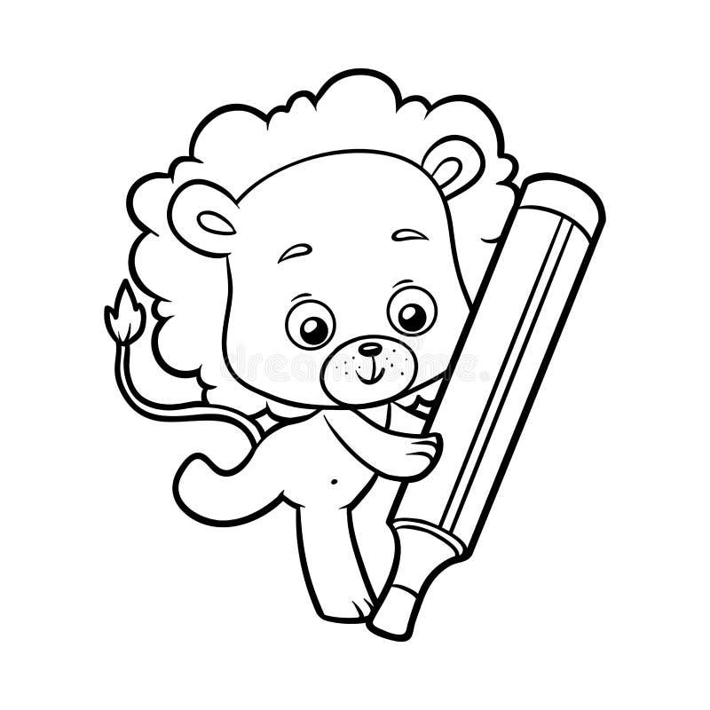 Χρωματίζοντας βιβλίο, λιοντάρι ελεύθερη απεικόνιση δικαιώματος