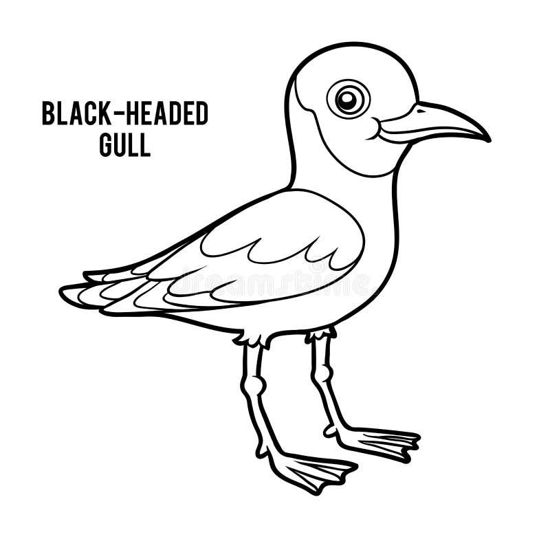 Χρωματίζοντας βιβλίο, μαυροκέφαλος γλάρος διανυσματική απεικόνιση