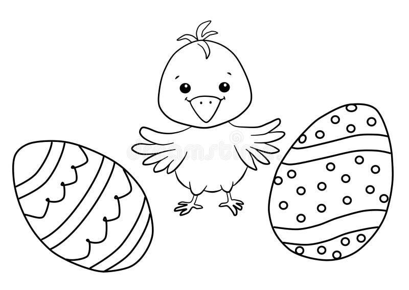 Χρωματίζοντας βιβλίο Πάσχας για τα παιδιά - κοτόπουλο και αυγά διανυσματική απεικόνιση