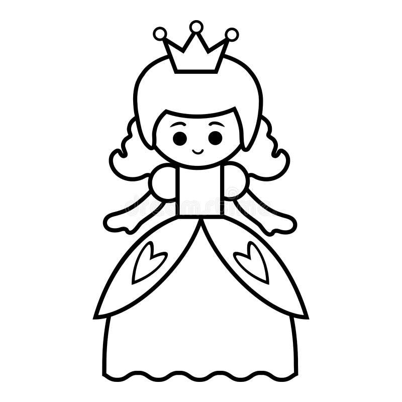 Χρωματίζοντας βιβλίο, πριγκήπισσα διανυσματική απεικόνιση