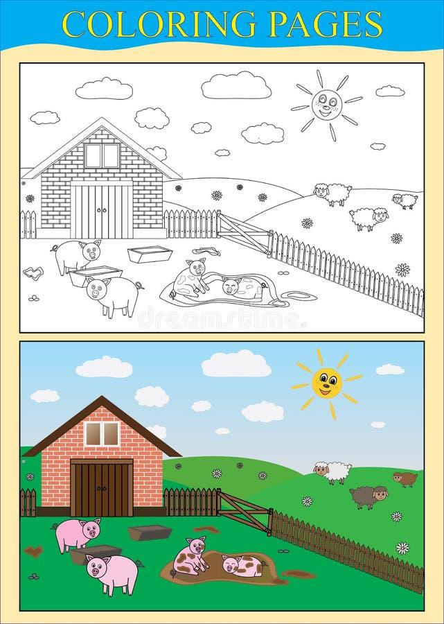 Χρωματίζοντας βιβλίο σελίδων Αγρόκτημα, ζωικοί χοίροι, πρόβατα ελεύθερη απεικόνιση δικαιώματος