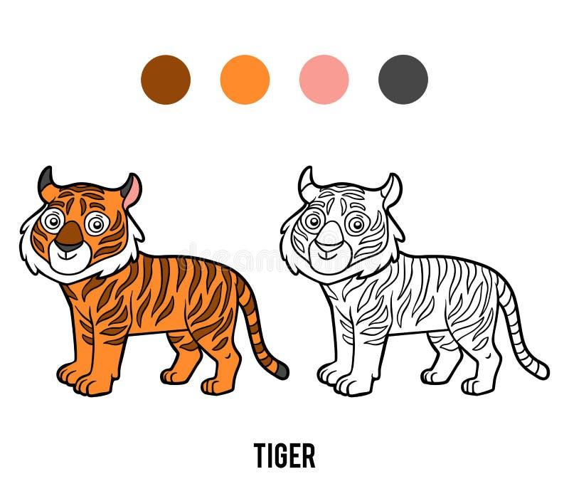 Χρωματίζοντας βιβλίο, τίγρη διανυσματική απεικόνιση