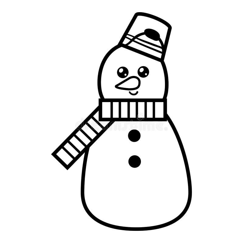 Χρωματίζοντας βιβλίο, χιονάνθρωπος διανυσματική απεικόνιση