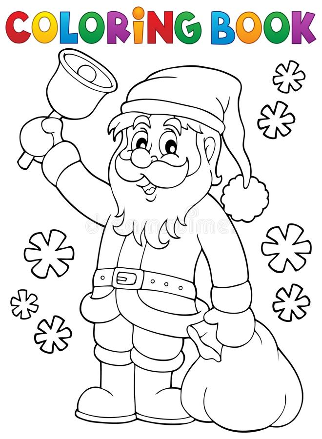 Χρωματίζοντας βιβλίο Άγιος Βασίλης με το κουδούνι ελεύθερη απεικόνιση δικαιώματος