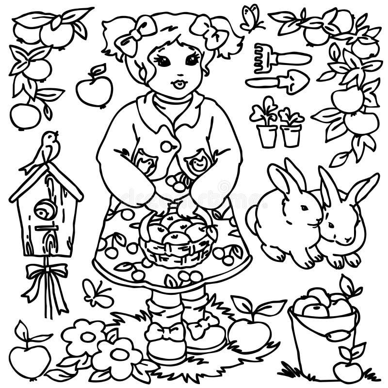 Χρωματίζοντας βιβλίο, αγροτικό κορίτσι κινούμενων σχεδίων και ζώα απεικόνιση αποθεμάτων