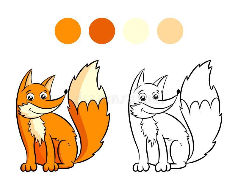 Χρωματίζοντας βιβλίο αλεπούδων διανυσματική απεικόνιση