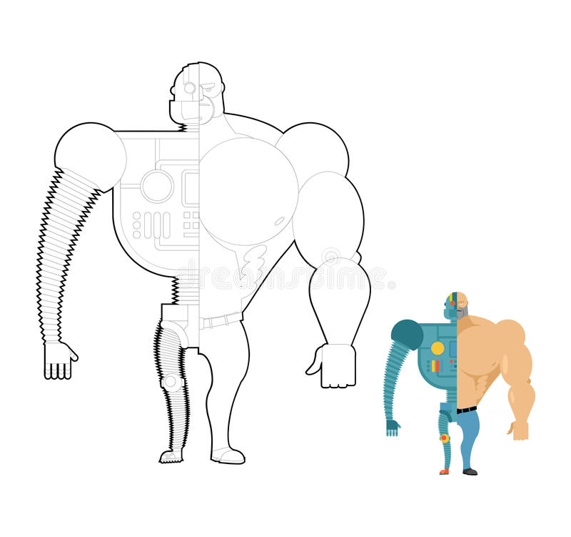 Χρωματίζοντας βιβλίο βιονικών ρομπότ Cyber-άτομο του μέλλοντος Σκελετός α σιδήρου ελεύθερη απεικόνιση δικαιώματος