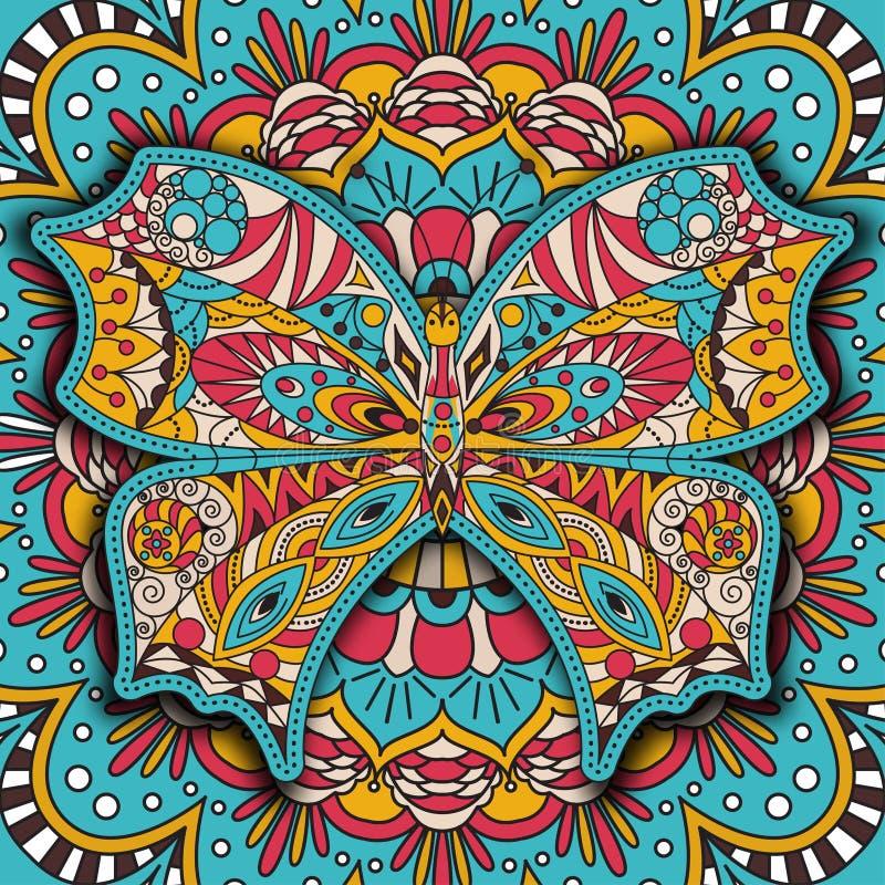 Χρωματίζοντας βιβλίο για τα ενήλικα και παλαιότερα παιδιά Διακοσμητική πεταλούδα σελίδων χρωματισμού Διακοσμητική αραβική στρογγυ απεικόνιση αποθεμάτων