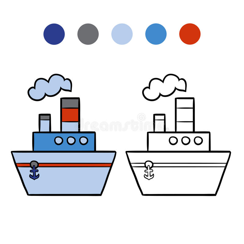 Χρωματίζοντας βιβλίο για τα παιδιά, ατμόπλοιο ελεύθερη απεικόνιση δικαιώματος