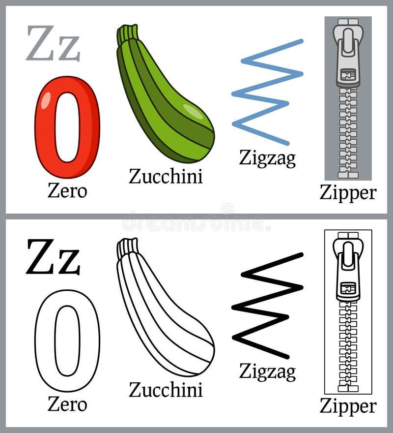 Χρωματίζοντας βιβλίο για τα παιδιά - αλφάβητο Ζ απεικόνιση αποθεμάτων