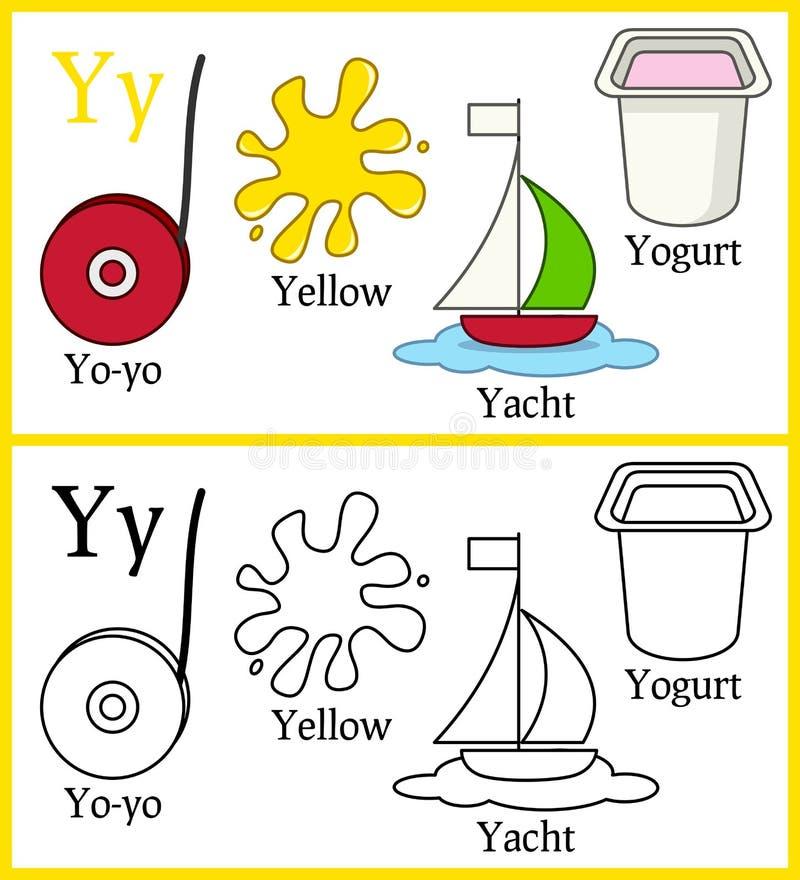 Χρωματίζοντας βιβλίο για τα παιδιά - αλφάβητο Υ διανυσματική απεικόνιση