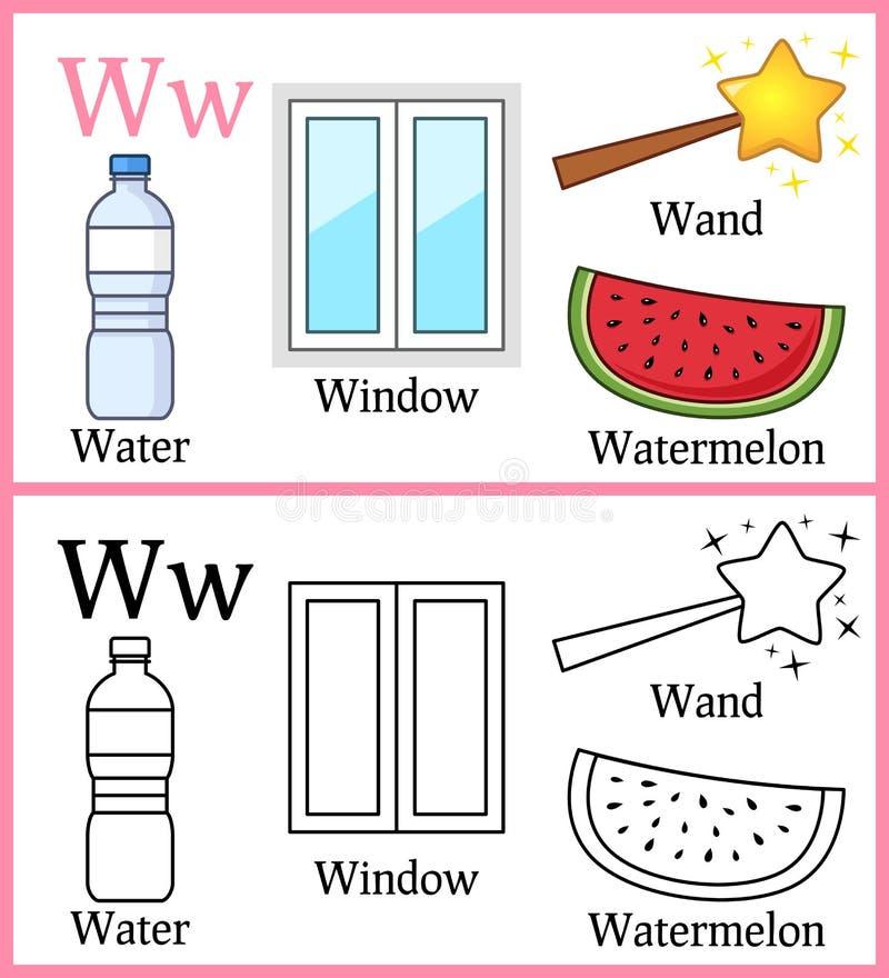 Χρωματίζοντας βιβλίο για τα παιδιά - αλφάβητο W διανυσματική απεικόνιση
