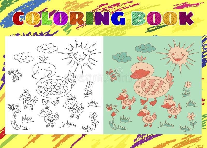 Χρωματίζοντας βιβλίο για τα παιδιά Περιγραμματικός λίγη ρόδινη πάπια με τους νεοσσούς ελεύθερη απεικόνιση δικαιώματος