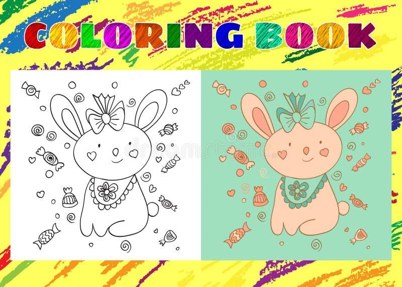 Χρωματίζοντας βιβλίο για τα παιδιά Περιγραμματικός λίγο ρόδινο λαγουδάκι απεικόνιση αποθεμάτων