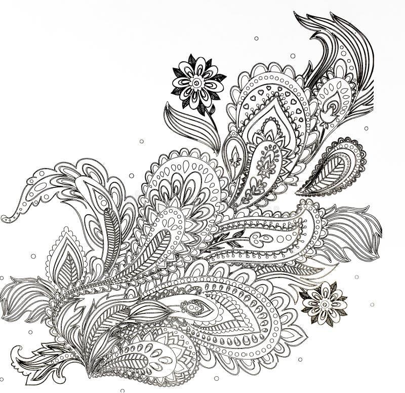 χρωματίζοντας βιβλίο για τους ενηλίκους, ο κλάδος των λουλουδιών στοκ φωτογραφία με δικαίωμα ελεύθερης χρήσης