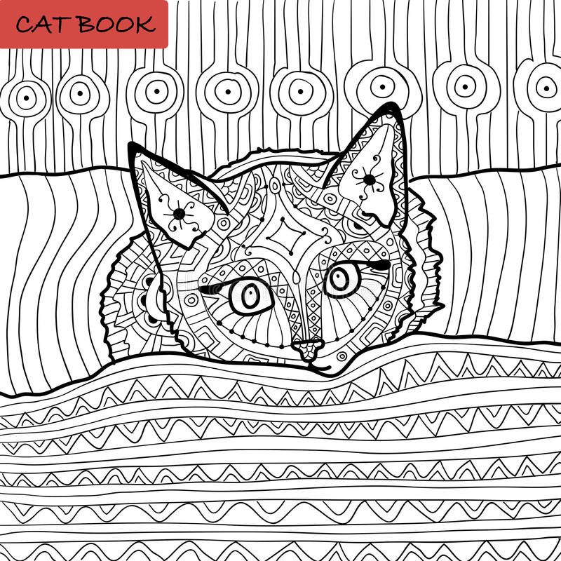 Χρωματίζοντας βιβλίο για τους ενηλίκους - zentangle βιβλίο γατών, το γατάκι στο κρεβάτι διανυσματική απεικόνιση