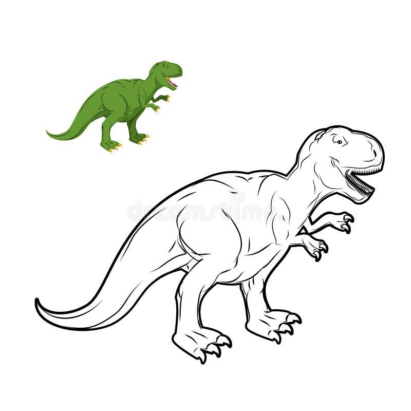 Χρωματίζοντας βιβλίο δεινοσαύρων Rex τυραννοσαύρων διανυσματική απεικόνιση