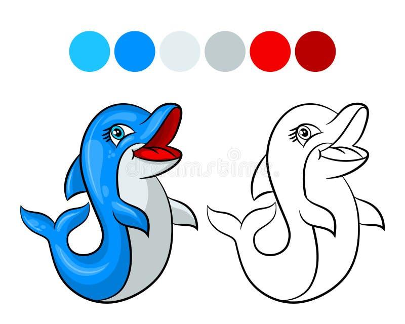 Χρωματίζοντας βιβλίο δελφινιών διανυσματική απεικόνιση