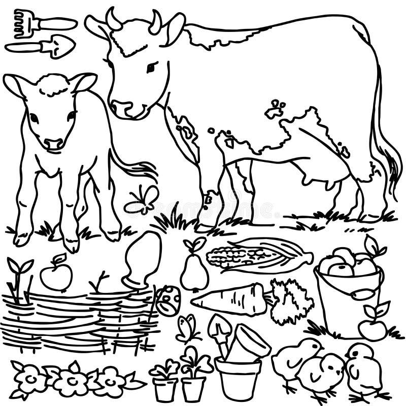 Χρωματίζοντας βιβλίο, ζώα αγροκτημάτων κινούμενων σχεδίων απεικόνιση αποθεμάτων
