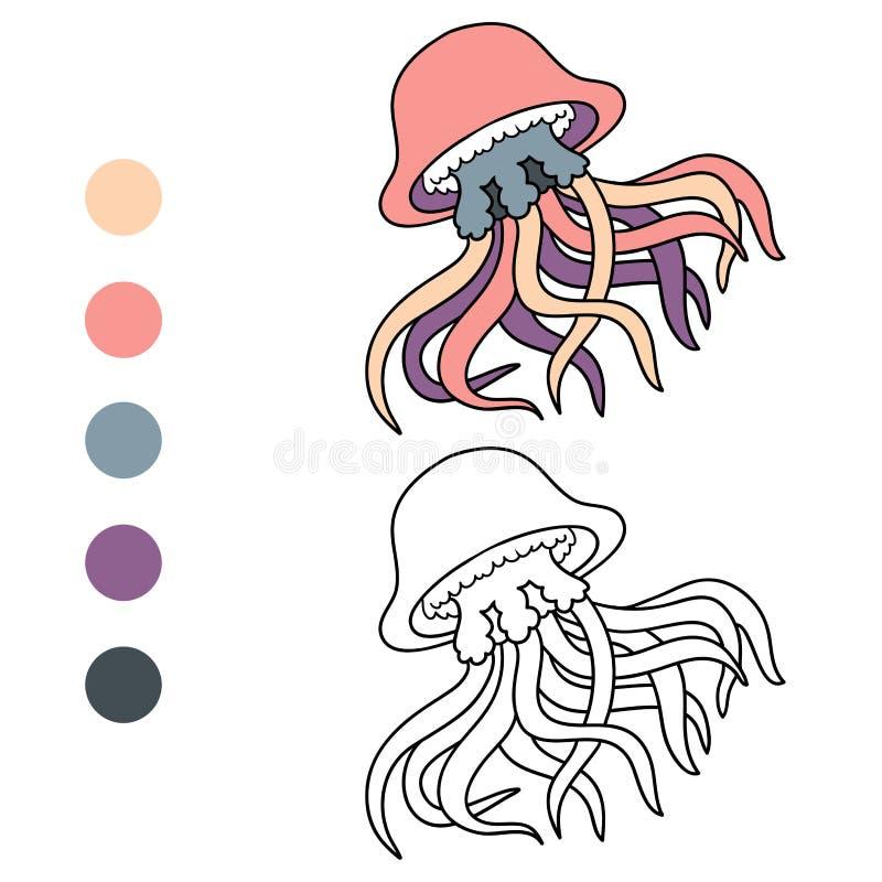 Χρωματίζοντας βιβλίο (μέδουσα) διανυσματική απεικόνιση
