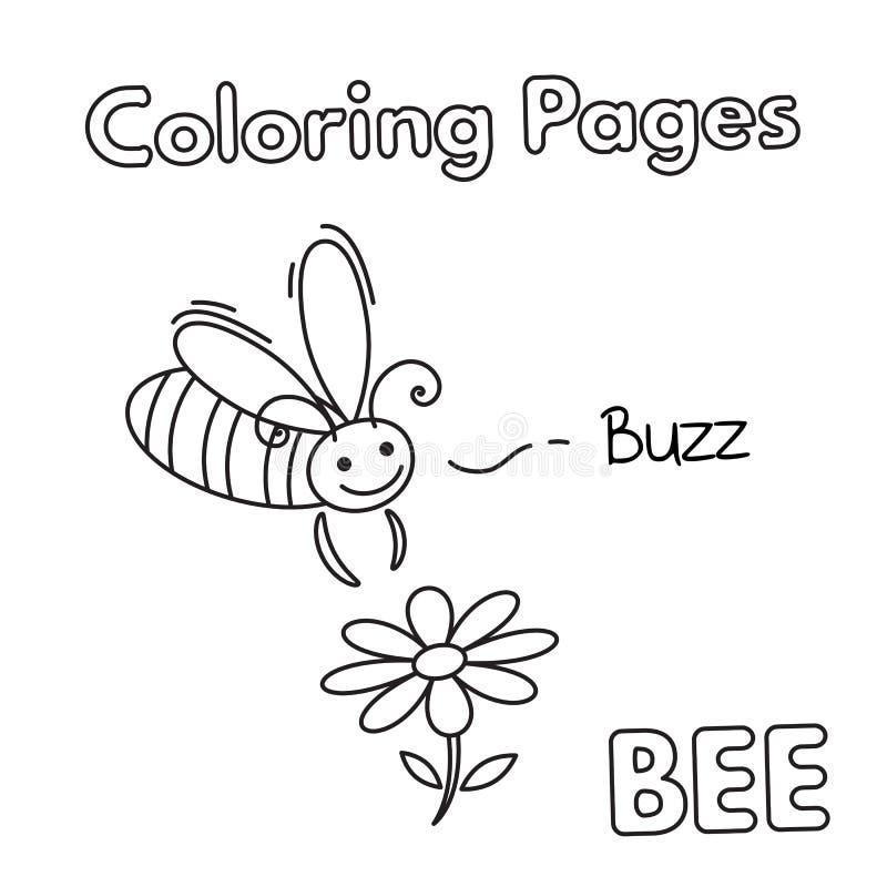 Χρωματίζοντας βιβλίο μελισσών κινούμενων σχεδίων απεικόνιση αποθεμάτων