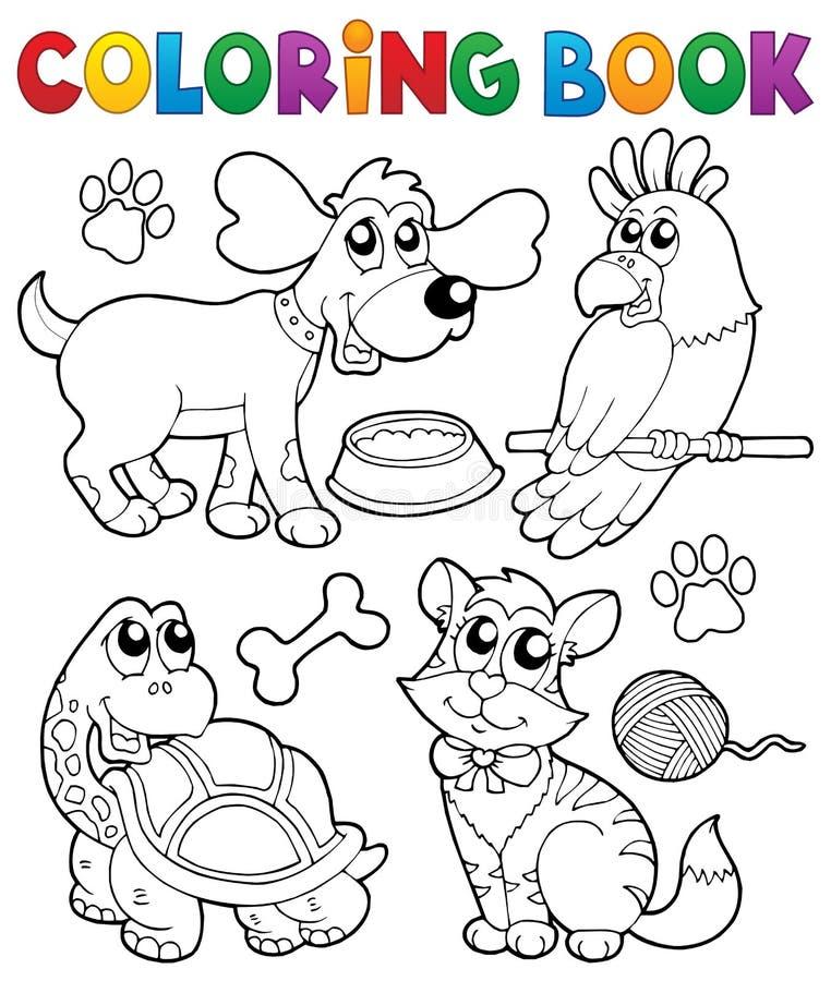 Χρωματίζοντας βιβλίο με τα κατοικίδια ζώα 3 διανυσματική απεικόνιση