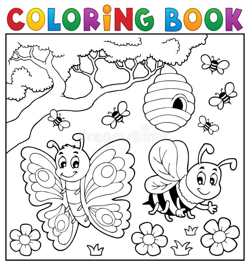 Χρωματίζοντας βιβλίο με την πεταλούδα και τη μέλισσα απεικόνιση αποθεμάτων