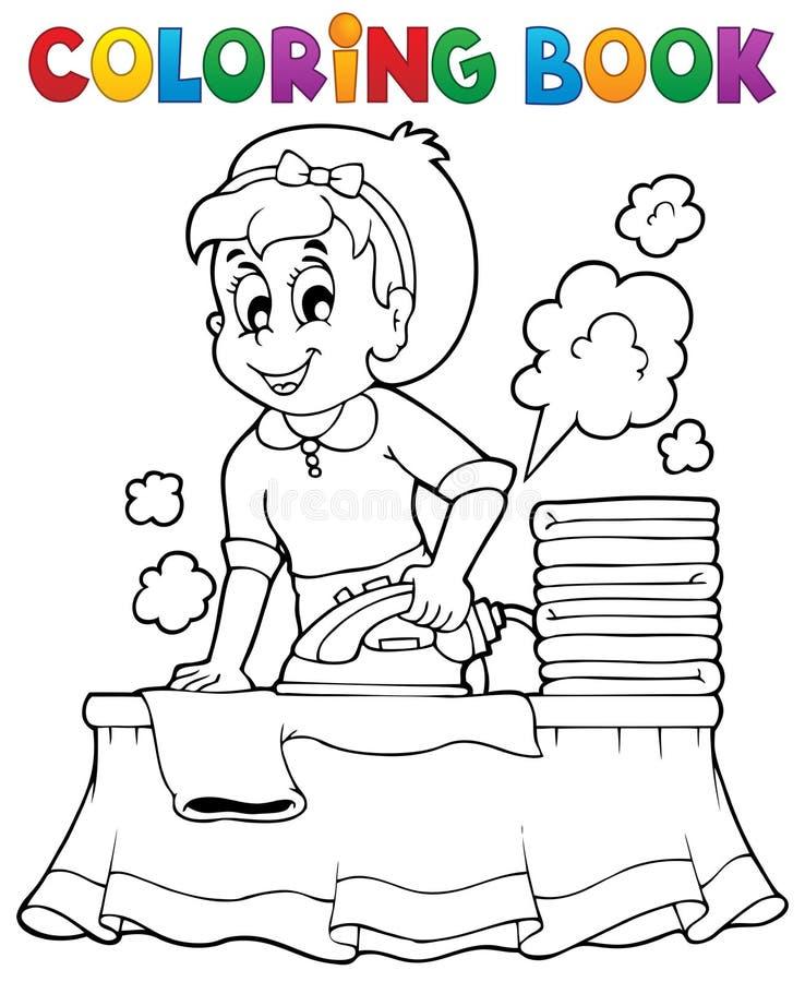 Χρωματίζοντας βιβλίο με τη νοικοκυρά 1 διανυσματική απεικόνιση